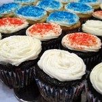 flag cupcakes up close