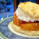 grilled peach shortcake, at night
