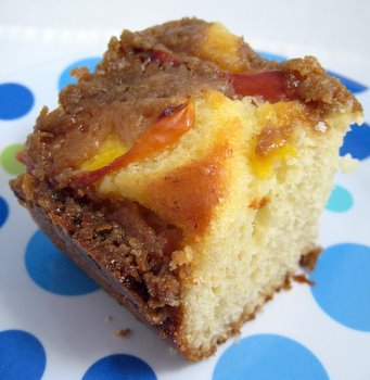 Yeasted Nectarine Coffee Cake slice