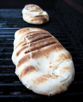 grilled flatbread in progress