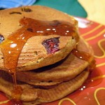 Pumpkin Butter Pancakes with maple syrup action!