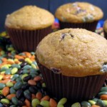 Pumpkin Muffins with Chocolate Covered Sunflower Seeds