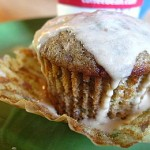 cranberry applesauce cupcakes with caramel glaze
