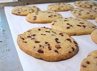 hot cookies on baking sheet