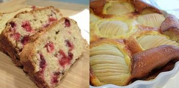 cranberry orange bread and pear clafoutis, redux