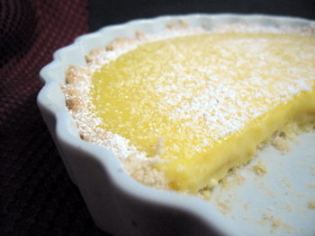 lemon curd tart, sliced