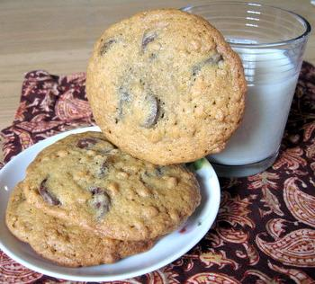 Giant Chocolate Chip Cookies - can't have too much milk