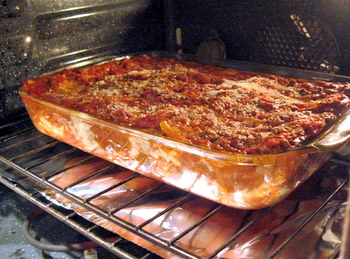 lasagna, in the oven