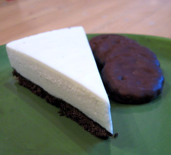 slice of Thin Mint cheesecake