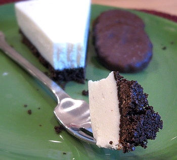 Vanilla Cheesecake with Thin Mint Crust, waiting to be eaten