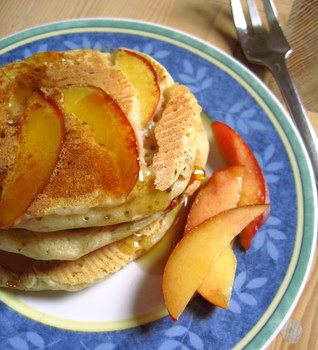 Buttermilk Pancakes with Nectarines… and maple syrup