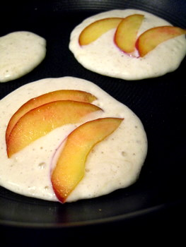 Buttermilk Pancakes with Nectarines, cooking on the stove