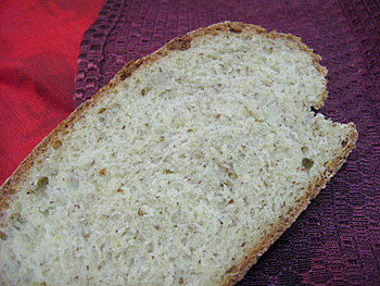 Oat Bran and Flaxseed Bread, the crumb
