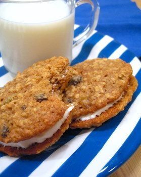 Oatmeal Raisin Sandwich Cookies with Cream Cheese Filling