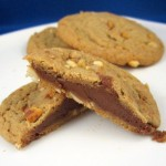 Chocolate-Filled Double Delight Peanut Butter Cookies, sliced