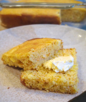 Sweet Corn and Carrot Cornbread, buttered