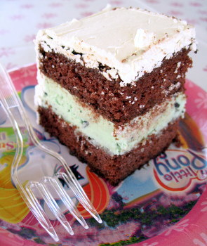 Mint Chocolate Chip Ice Cream Cake slice