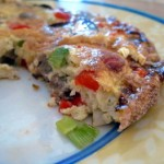 Mushroom, Pepper and Sausage Frittata, sliced
