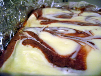Cheesecake Brownies, swirled in the pan