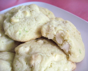 Lime, White Chocolate and Macadamia Nut Cookies