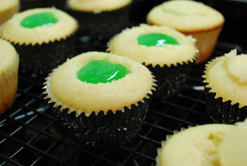 "Filling up the cupcakes with ""slime"""