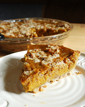 Pumpkin Pie with Pecan Crumble Topping