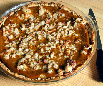 Pumpkin Pie with Pecan Crumble Topping, whole