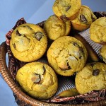 Pumpkin Muffins with Milk Chocolate Chips, top view