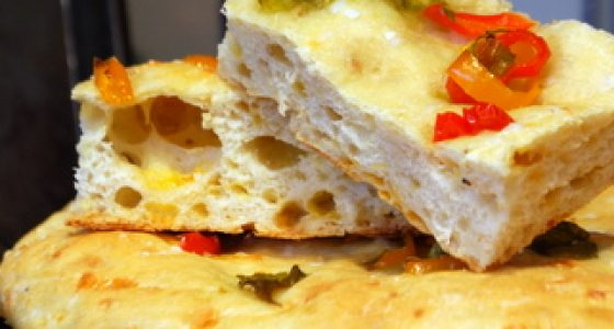 Peppers and Cheese Focaccia