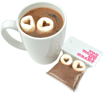 Hot Cocoa with Heart Shaped Marshmallows