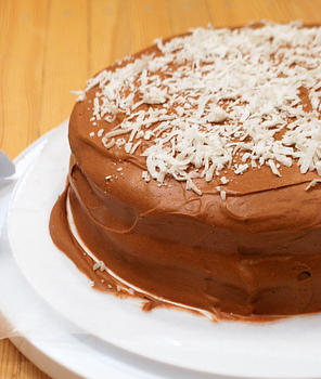 Coconut Layer Cake with Coconut Chocolate Frosting