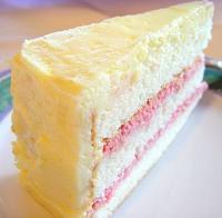Slice of classic white cake