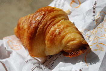 Croissants are made with laminated dough