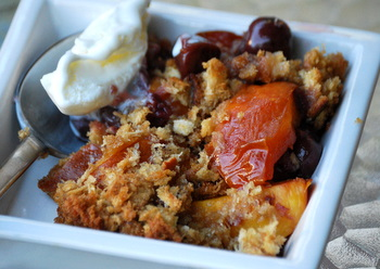 Cherry Nectarine Brown Betty with ice cream