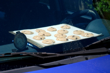 Car-Baked Oatmeal Chocolate Chip Cookies, wide angle