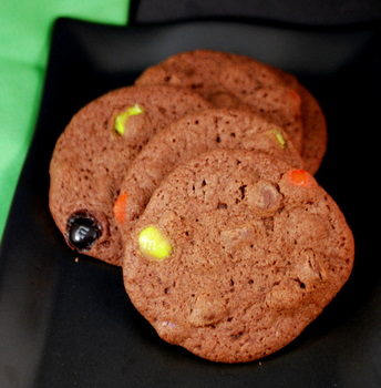 Halloween M&M Chocolate Cookies
