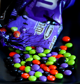 Colorful, spooky Halloween M&Ms