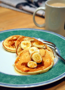 Macadamia Nut Pancakes with Bananas