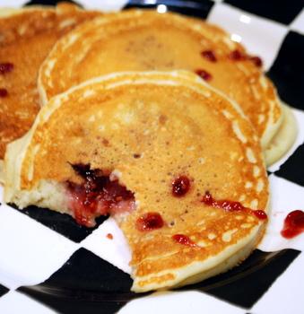 Jam-Filled Vampire Pancakes