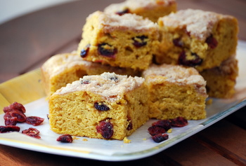 Sweet Potato Coffee Cake with Dried Cranberries