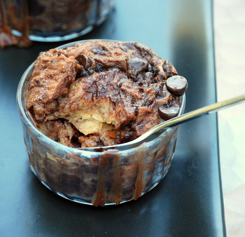Individual Nutella Bread Pudding, closeup