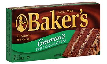 German's chocolate, baking chocolate, baking, cakes, chocolate