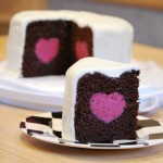Deep Chocolate Cake with a Raspberry Mousse Heart