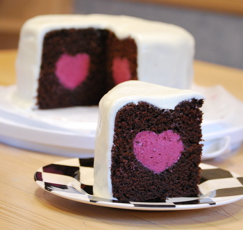 Deep Chocolate Cake with a Raspberry Mousse Heart - Baking ...