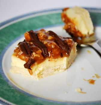Samoas Cheesecake Bars, bitten