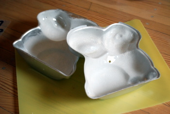 Bunny Cake Pan, greased