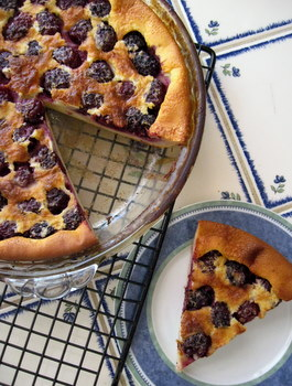 Blackberry Clafoutis, sliced
