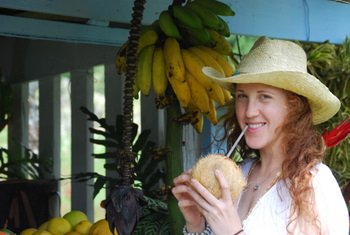 Nicole with a coconut