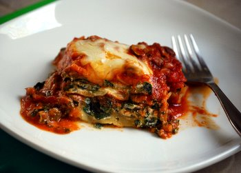 Beef, Spinach and Mushroom Lasagna, sliced