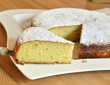 Saffron and Olive Oil Cake, sliced